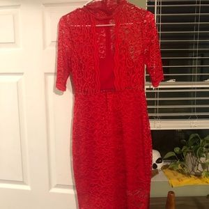 Red lace midi dress - Never worn!